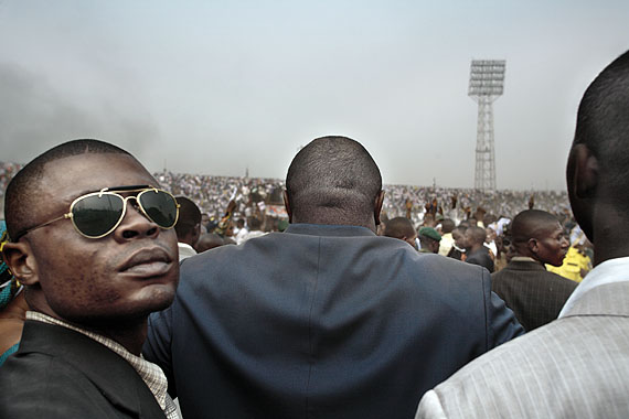 Guy TillimPresidential candidate Jean-Pierre Bemba flanked by his bodyguards during an election rally.Series: Congo DemocraticJuly 2006Kinshasa, DRC