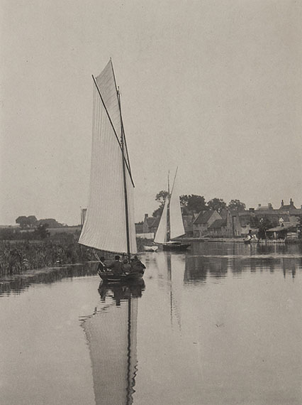 Peter Henry Emerson (1856-1936) The Village of Horning, Plate V, from Life and Landscape on the Norfolk Broads, 1886 Platinum print on contemporary mount, accompanied by interleaving sheet,22.4 x 16.5cm