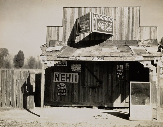 Lot 122:Walker Evans, Roadside Store, Vicinity, Selma, Alabama, silver print, 1936. Estimate $20,000 to $30,000.© Estate of Walker Evans