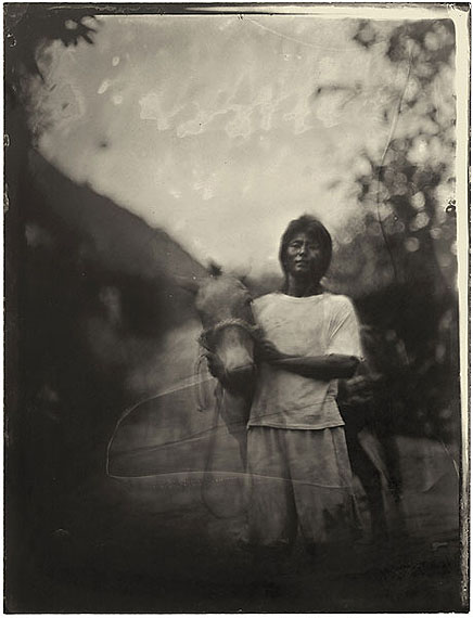 Luo Dan: Simple Song No. 09, Ai Chunhua holding his horse, Jinxiugu Village, 2010 30 x 21cm - Edition of 20; 147.3 x 111.8cm - Edition of 8, Pigment Print on Fiber Paper © Luo Dan