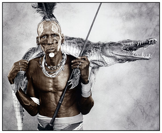Biwa (44) with Crocodile, Karo Tribe, Ethiopia 2010, Silver Gelatin Print, toned, Edition of 10, 50 x 60 cm, 77 x 86 cm, © Jan C. Schlegel / Courtesy of Bernheimer Fine Art Photography