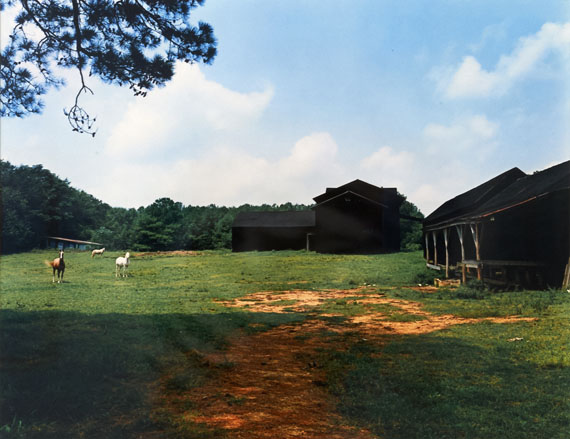 William Christenberry Horses and Black Buildings—Newbern, Alabama, 1978from the portfolio Ten Southern Images Vintage dye transfer print 50.8 x 60.96 cm / 20 x 24 in. ©William Christenberry, courtesy of Feroz Galerie