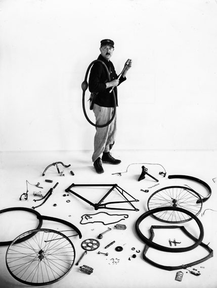© Atelier Robert Doisneau | The bicycle of Jacques Tati. 1947