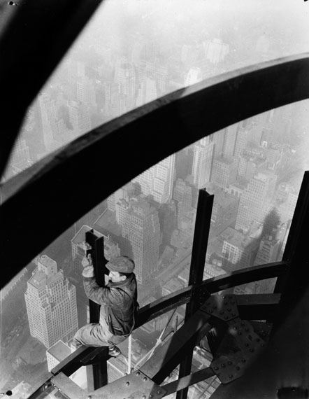 Lewis Hine [Man on girders, Empire State Building], ca. 1931Gelatin silver print, 12 x 9.2 cm© Collection of George Eastman House, Rochester