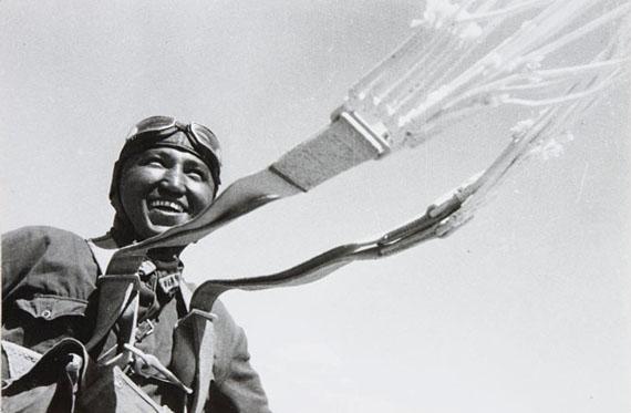 G.A. Zelma. First Uzbek parachuter. Tashkent, Uzbek Soviet Socialist Republic. 1930