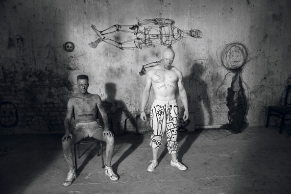 Roger Ballen, Muscleman and Ninja from Die Antwoord, 2012, archival pigment print, 21 x 31cm, edition of 50
