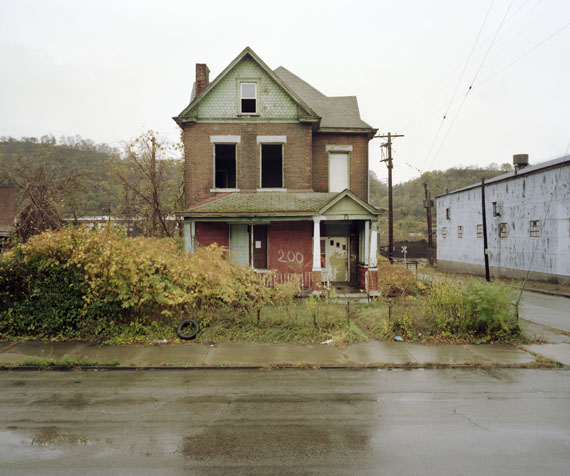 Sean HemmerleAbandoned,Talbot Ave. Braddock, Pennsylvania,2008 Home to Andrew Carnegie's first steel mill, and library. Braddock is an economically depressed and shrinking community.©Sean Hemmerle, CourtesyFeroz Galerie