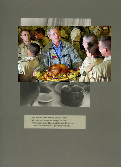 Adam Broomberg & Oliver Chanarin, Plate 26, George Bush serves a Thanksgiving turkey to US troops stationed in Baghdad in 2003, (photo Tim Sloan), work on paper, 24 cm x 29 cm, 2011