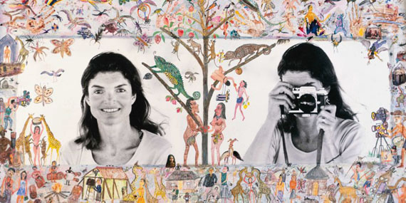 Jackie O. Photo Lesson Embellished by Hog Ranch Art Department, Skorpios, 1971 © The Peter Beard Collection