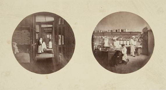Lot 15. Charles Nègre (1820-1880)Vues photographiques de l'Asile Impérial de Vincennes, 1858Album containing 15 albumen prints.
