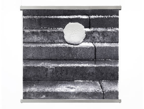 snow+concrete XIV, image 1, B&W Photograph on Fused Glass, Wire-Suspension, 2012, © G. Roland Biermann