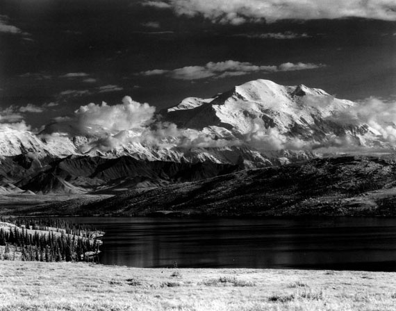 Henry Bradford Washburn: Mount McKinley Looms Over Wonder Lake, Alaska, 1953 © Bradford Washburn, courtesy Decaneas Archive, revere, MA