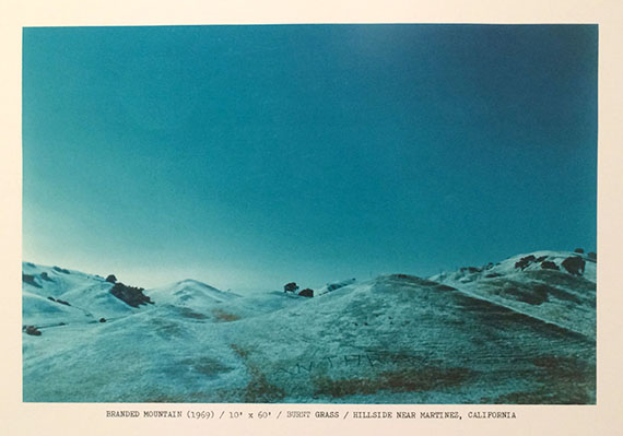 Dennis OppenheimMindtwist: A Portfolio of Burnt Out Thoughts:Branded Mountain (1969)/Burnt Grass/Hillside Near Martinez, California, 1977Chromogenic print76,2 x 101,6 cm©Estate of Dennis Oppenheim, courtesy of Feroz Galerie
