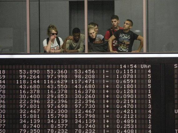 Peter van Agtmael, Germany, Frankfurt, 2013. School group visits the old Frankfurt Stock Exchange