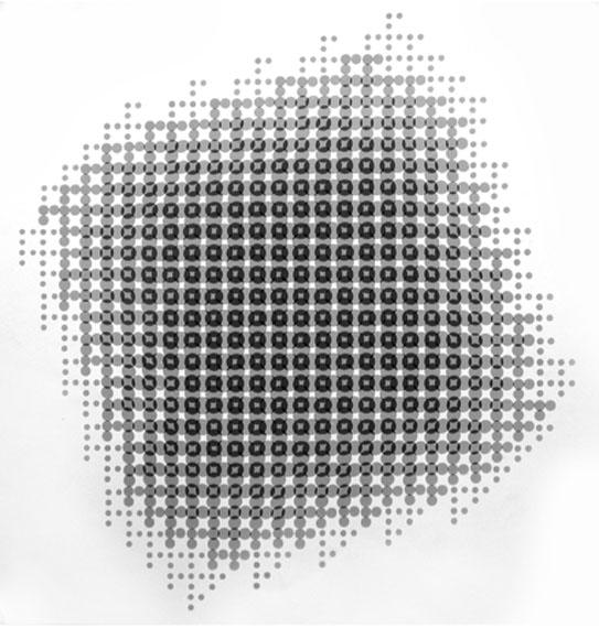 Gottfried Jäger Lochblendenstruktur-3.8.14 B2.6 SW-Print, 50x50 cm 1967