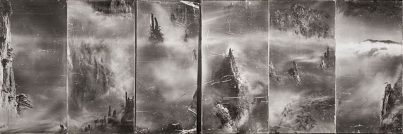 SHAO WENHUANIndefinite…, Series III(2010) Photography and mixed media on silk (Gelatin emulsion in silver halide manually painted onto linen canvas, developed in darkroom) 81cm x 40cm x 6 – Edition of 3