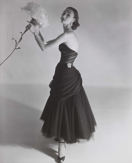 Horst P. Horst: Evelyn Tripp modelling a Charles James dress, Vogue, September 1951
