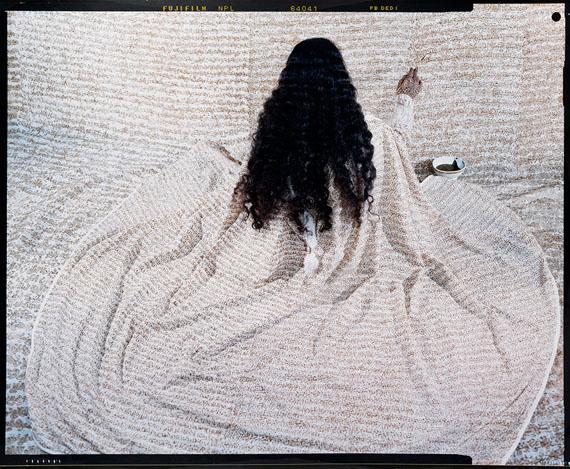 Lalla Essaydi: Converging Territories #10, oversized chromogenic print, 2003. Estimate $9,000 to $12,000. © Lalla Essaydi