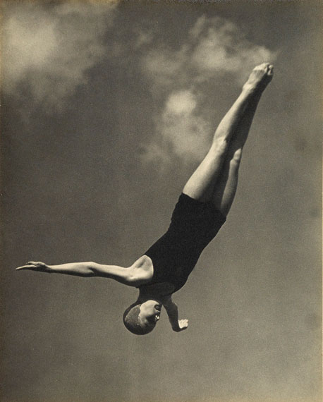 Leni Riefenstahl: presentation portfolio with 10 photographs related to Olympic diver Marjorie Gestring, 13-year-old gold medalist at the 1936 Berlin Olympics. Estimate $12,000 to $18,000.