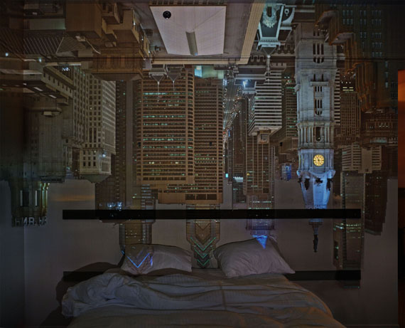 Camera Obscura: Night View of Philadelphia from Loews Hotel Room #3013, April 14th, 2014 ©Abelardo Morell/Courtesy of Edwynn Houk Gallery, New York
