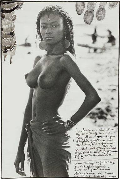 "Peter Beard, Fayel Tall. El Molo Bay, Lake Rudolf. 1987. Gelatin silver print. 12 7/8 x 8 5/8 in.. Unique work. In the gallery frame of""The Time is Always Now""."