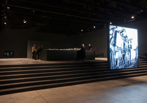 Installation shot: Alfredo JaarVenezia, Venezia, 2013Lightbox with black and white transparencyPhotograph: Milan, 1946: Lucio Fontana visits his studio on his return from Argentina © Archivi Farabola244 cm x 244 cm x 18 cm