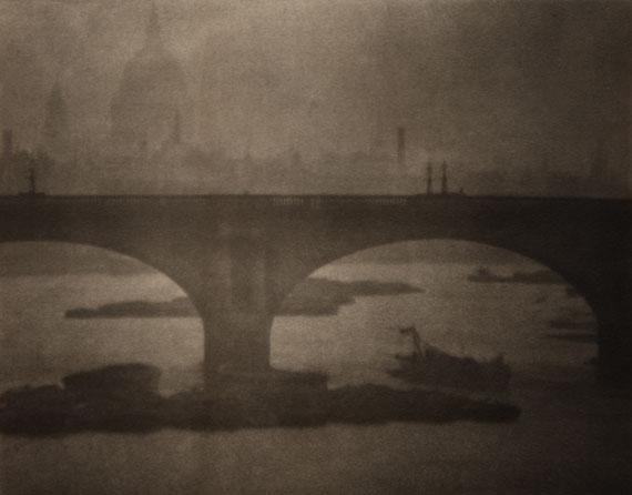 'Waterloo Bridge from London Bridge', London, 1903. Limited edition modern Platinum Palladium prints. 28.5 cm x 22.6 cm. Courtesy of 31 Studio/The George Eastman House/ °CLAIR Gallery.
