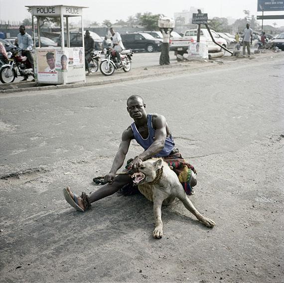 "Abdullahi Mohammed with Mainasara, Lagos, Nigeria, from the series ""'Gadawan Kura' - The Hyena Men Series II"" (2005-2007), 2007© Pieter Hugo, courtesy | PRISKA PASQUER"