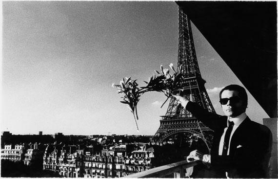 Helmut Newton, Portrait of Karl Lagerfeld in Paris, oversized ferrotyped silver print, 1976. Estimate $70,000 to $100,000.