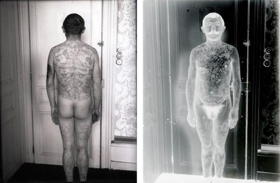 AnonymeTatoué – souvenirs du bagneDeux plaques de verre 13x18cm vers 1900
