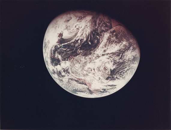 """NASA / William AndersApollo 8 Mission : One of the first whole views of Earth recorded by an astronaut, December 21st, 1968Vintage color print on fiber-based Kodak paper. NASA serial number """"NASA AS8-16-2593""""in red ink in upper margin. Typewritten caption in purple ink""""A Kodak Paper"""" watermark on verso.Image : 18,3 x 18,1 cm, Sheet : 20,4 x 25,5 cm"""