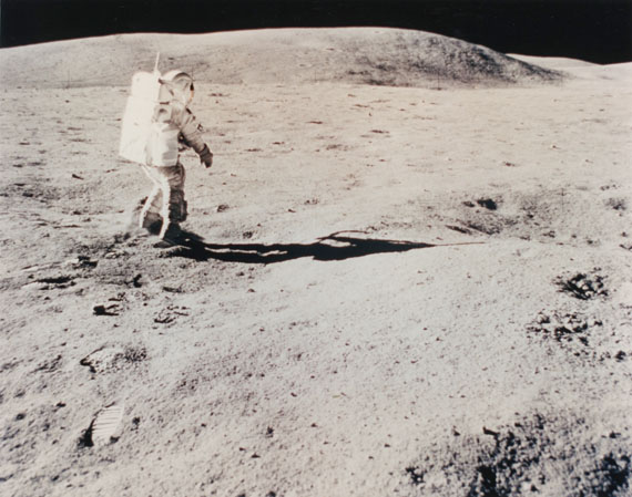 """NASA / John W. YoungApollo 16 Mission : The astronaut Charles M. Duke Jr., pilot of the lunar module, near Plum Crater, during the first EVA, April 21st,1972Vintage color print on resin-based paper. Typewritten caption in purple ink""""A Kodak Paper"""" watermark on verso.Image : 19,3 x 24,4 cm, Sheet : 20,2 x 25,5 cm"""