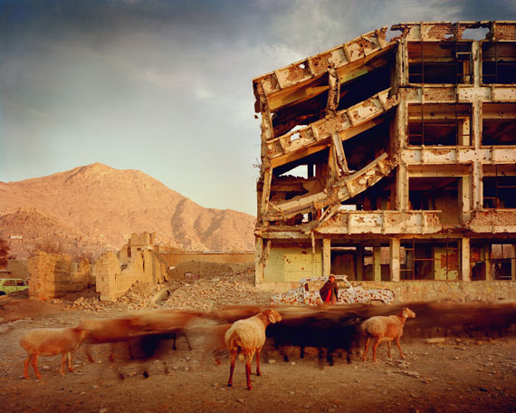 Simon Norfolk: Bullet-scarred apartment building and shops in the Karte Char district of Kabul. 