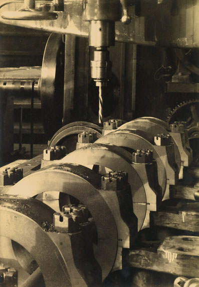 Margaret Bourke-White, Industrial Abstraction, toned silver print, circa 1935. Estimate $7,000 to $10,000.