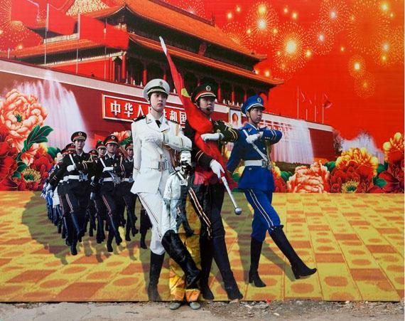 Liu Bolin: HIDING IN THE CITY - 99, THREE GODDESSES, 2013Archival pigment print, 44 1/8 x 59 inches (112.5 x 150 cm), Ed. 6