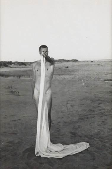 Lot 262: Jared French, Ted Starkowski on the Beachsilver print, circa 1950. Estimate $2,000 to $3,000.
