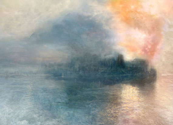 Hiroyuki Masuyma: J.M.W. Turner, The Burning of the Houses of Parliament No.1, 1834 / 2008, LED lightbox, 23.1 x 32.5 x 4 cm