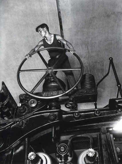 Arkadiy Shaikhet. Komsomolets at the helm of the paper machine. Balakhna, 1929