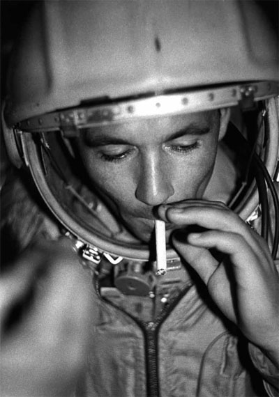 Boris Smirnov. The last drag. Cosmonaut G.Nelyubov before daily training in the simulator ship Vostok. Moscow, 1961