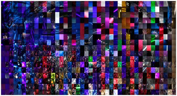 © Jules Spinatsch: Time Warp, Panorama aus 714 Bildern aufgenommen mit computergesteuerter Kamera von 19:30 – 11:00 auf Dancefloor 1, Time Warp Festival, Mannheim 5./6. Mai 2015enlarge