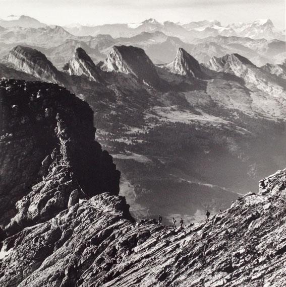 Philipp Giegel, 057 Aussicht vom Saentis ueber den Lisengrat auf die Churfirsten, Saentis, 1969