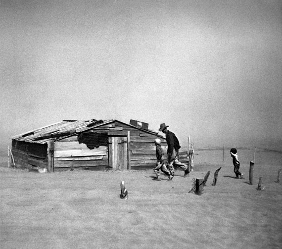 "Arthur Rothstein, Fleeing Dust Storm, Cimarron County, Oklahoma 1936, printed under Rothstien's supervision, 1983-84, 18 3/4""x18 3/4"" inches, Gelatin silver print, Courtesy Scott Nichols Gallery"