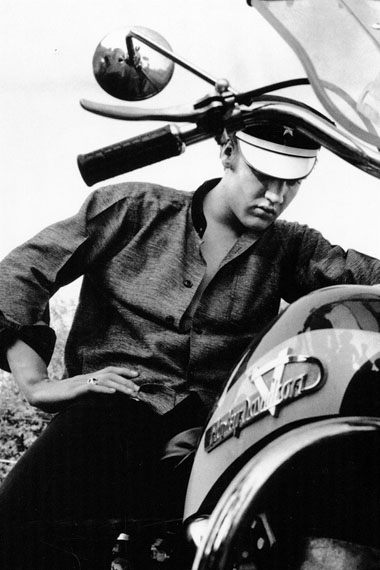 Alfred Wertheimer. Elvis on his Harley-Davidson, Wondering Why It Won't Start, Memphis, Tennessee, July 4, 1956