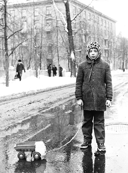 Alexander Podosinov. Boy with his toy car, Moscow, Marshala Koneva Street, 1983