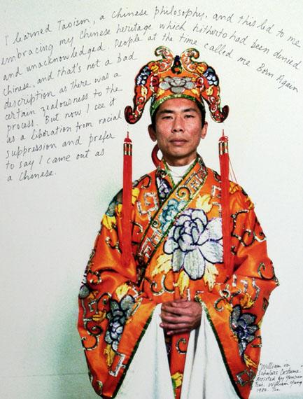 William Yang William in Scholar's Costume, 1984. Inkjet print, 79 x 52cm.