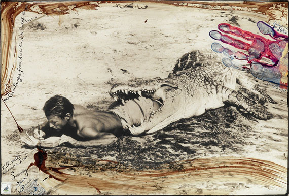 Peter Beard, I'll Write Whenever I Can, Koobi Fora, Lake Rudof, silver print with unique hand applications, 1965, printed 1990s.Estimate $20,000 to $30,000.