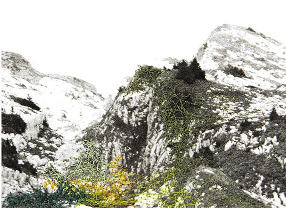 Iris Hutegger: LS-Nr: 1312-490, 2013, 10,8 x 15 cmGelatin silver print, intervention by stitching, Unique