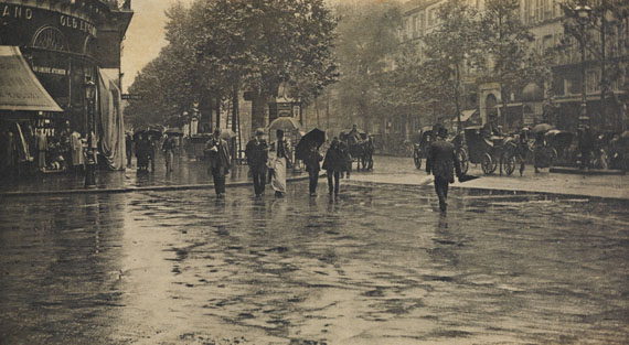 Alfred Stieglitz, Wet Day on the Boulevard, Paris, photogravure, 1897. Estimate $20,000 to $30,000.
