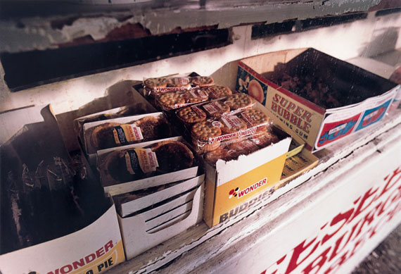William Eggleston, Untitled (Wonder Bread products on a shelf), dye-transfer print, 1974. Estimate $10,000 to $15,000.