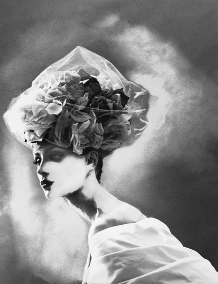 """Lillian Bassman (American, 1917-2012):""""NIGHT BLOOM,"""" HAT BY CHRISTIAN LACROIX HAUTE COUTURE, OLGA PANTUSHENKOVA, PARIS,THE NEW YORK TIMES MAGAZINE, 31 MARCH 1996Gelatin silver print, 20 x 16 inches. Artist's Proof 1/5 from an edition of 25. Signed and editioned, in pencil, on verso.Illustrated: Lillian Bassman, (New York: Bulfinch/Little, Brown and Company, 1997), pl. 66. [LBM.B1.066.1620.AP1]© Lillian Bassman Estate, Courtesy Edwynn Houk Gallery"""